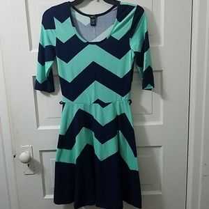 NWT Womens Rue 21mint green/navy blue dress